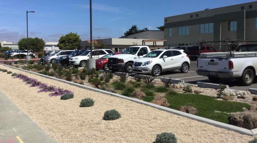 parking lot with low water planting in front