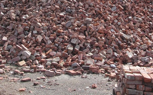 Construction and Demolition Debris Recycling - Pile of Bricks